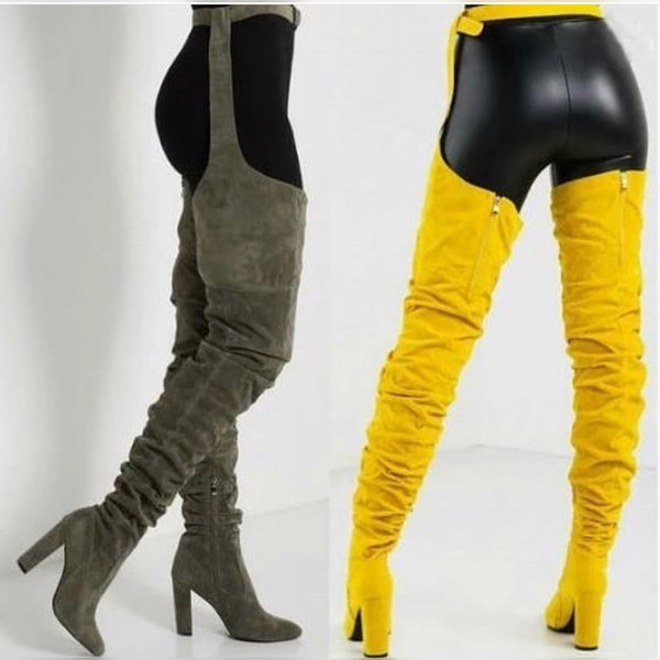 Ape Shit - Thigh high stirrup boots with heels.