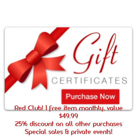 Code RED- 12 $49.99 gift certificates with premier membership-Kushe code red-kusheclothing