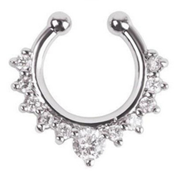 Faux- Fancy Titanium Crystal Nose Ring-Faux- Fancy Titanium Crystal Nose Ring-kusheclothing