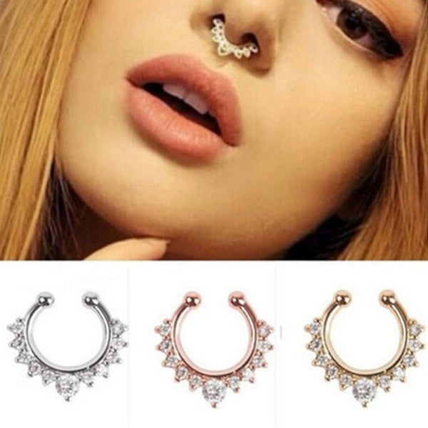 Faux- Fancy Titanium Crystal Nose Ring