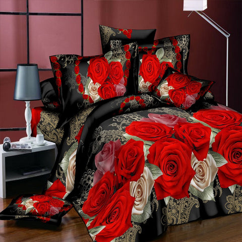 Roses by Kushe 1 -  3D love flower Bedding Sets 4pcs/set