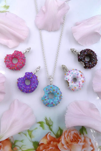 Silver Donut with Rainbow Sprinkles Necklace
