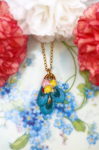 Porcelain Blue Iris Necklace