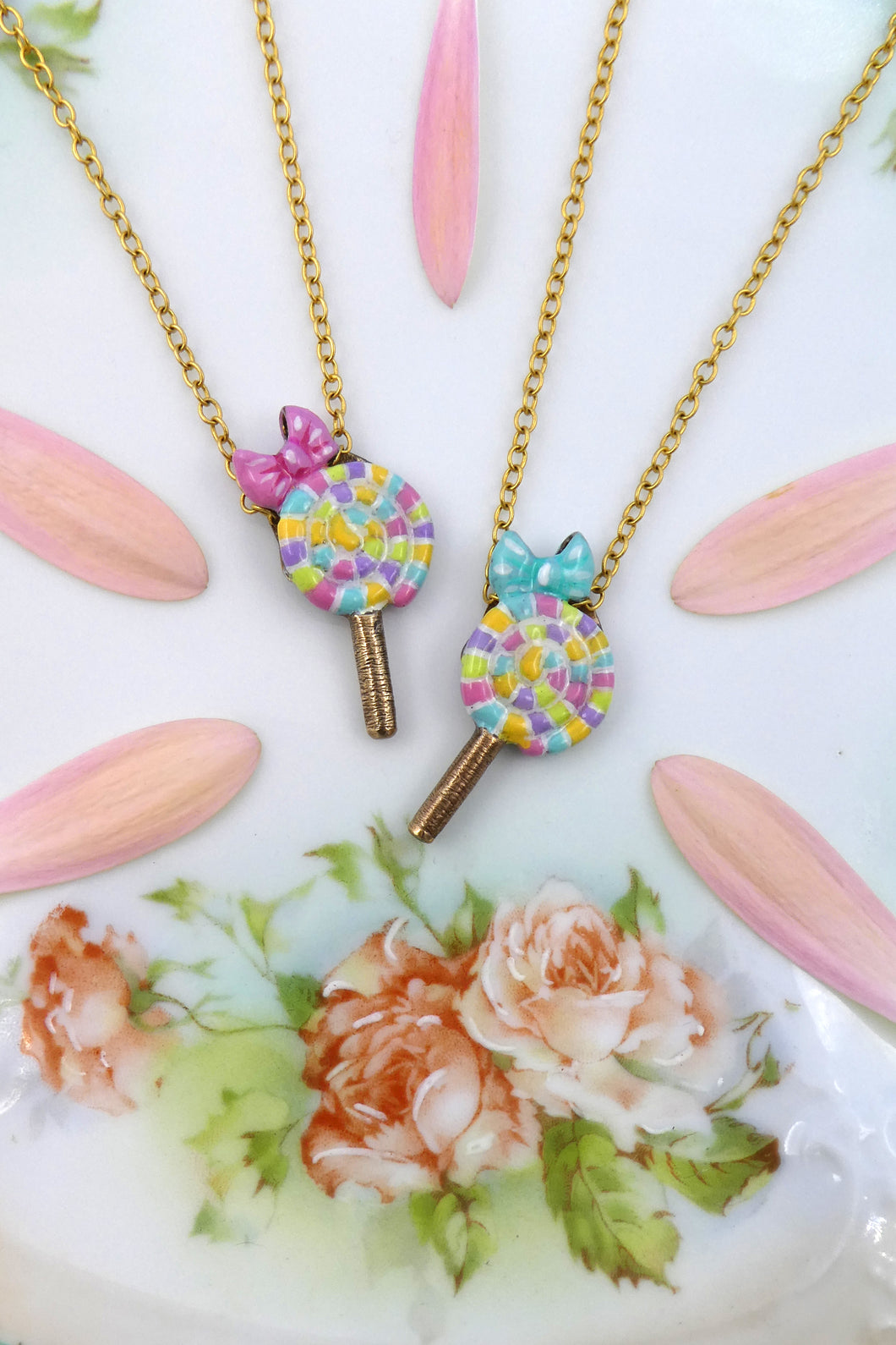 Silver Pastel Rainbow Lollipop Necklaces