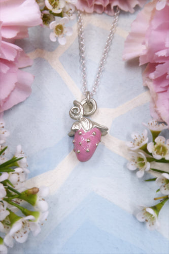 Silver Pink Strawberry Necklace