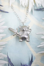 Fighting Silver Hamster Necklace