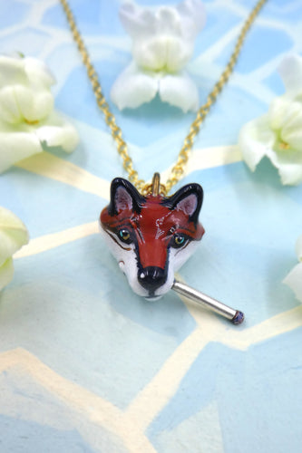 Bronze Smoking Fox Necklace