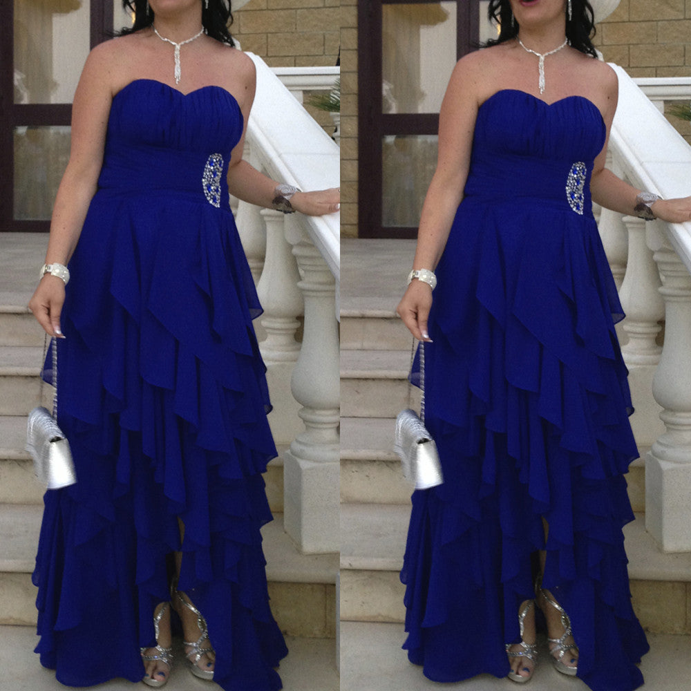 Blue Sleeveless Sweetheart Tiers Floor-length Chiffon Prom Dresses 2017