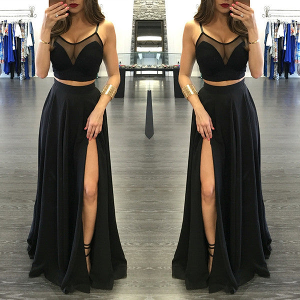 75% OFF!Illusion Spaghetti Straps Side-Slit Two Pieces Prom Dresses 2017