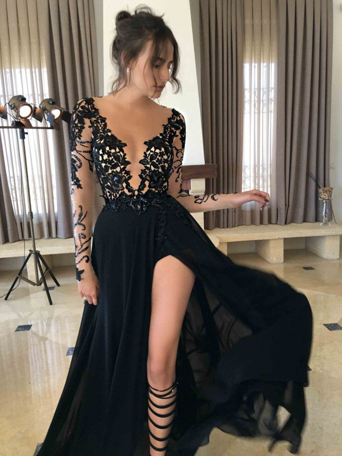 75% OFF!Sexy Split Sheer Sleeves Lace Prom Dresses 2017