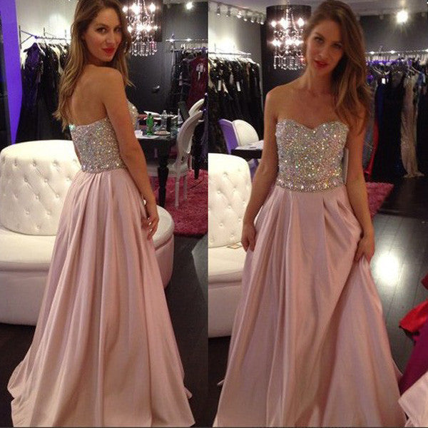 75% OFF!Crystal Embellished Sweetheart A-line Prom Dresses 2017