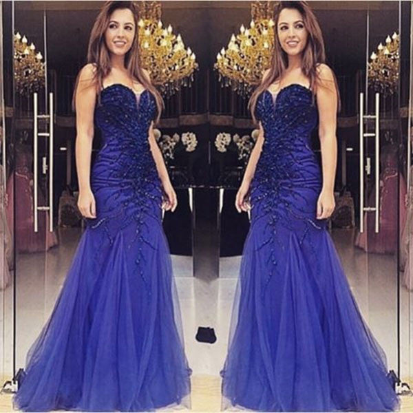 75% OFF!Delicate Sweetheart Beading Mermaid Tulle Prom Dresses 2017