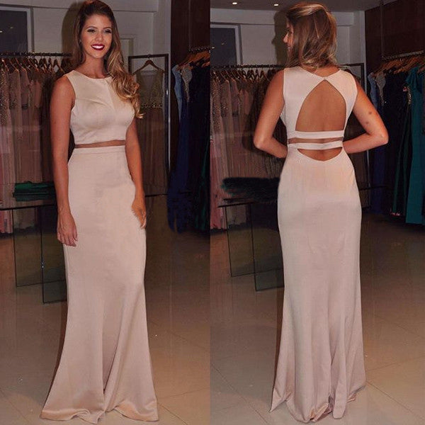 75% OFF!Backless Sheath Stretch Satin Two Pieces Prom Dresses 2017