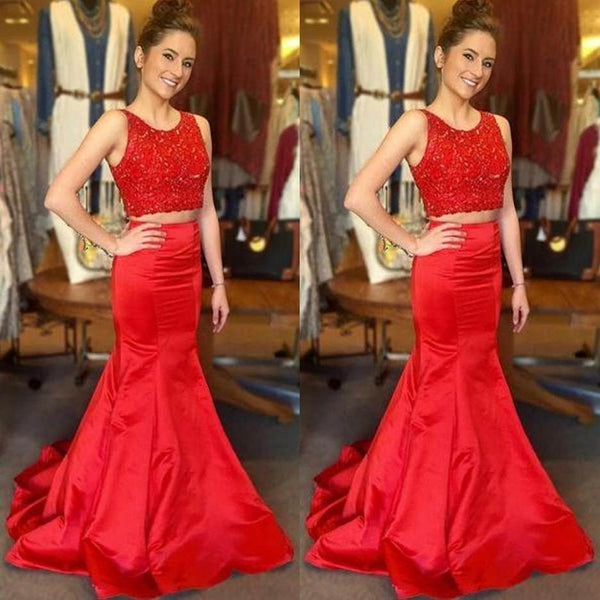 Red Beading Mermaid Satin Two Pieces Prom Dresses 2017
