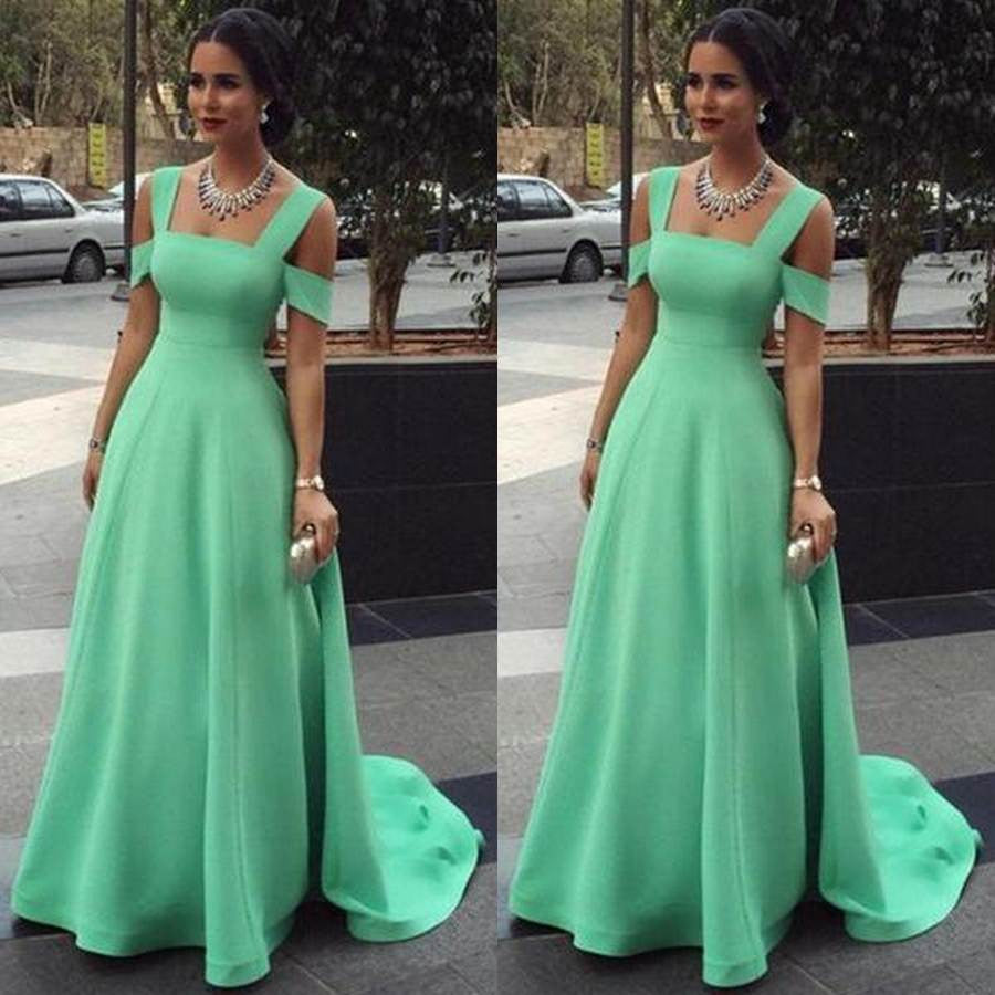 75% OFF!Long Off-the-Shoulder A-line Satin Prom Dresses 2017