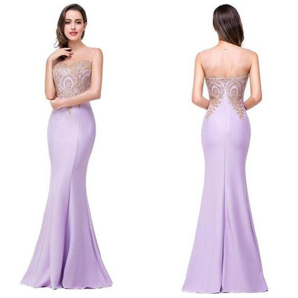 75% OFF!Appliques Floor-length Mermaid Chiffon Prom Dresses 2017