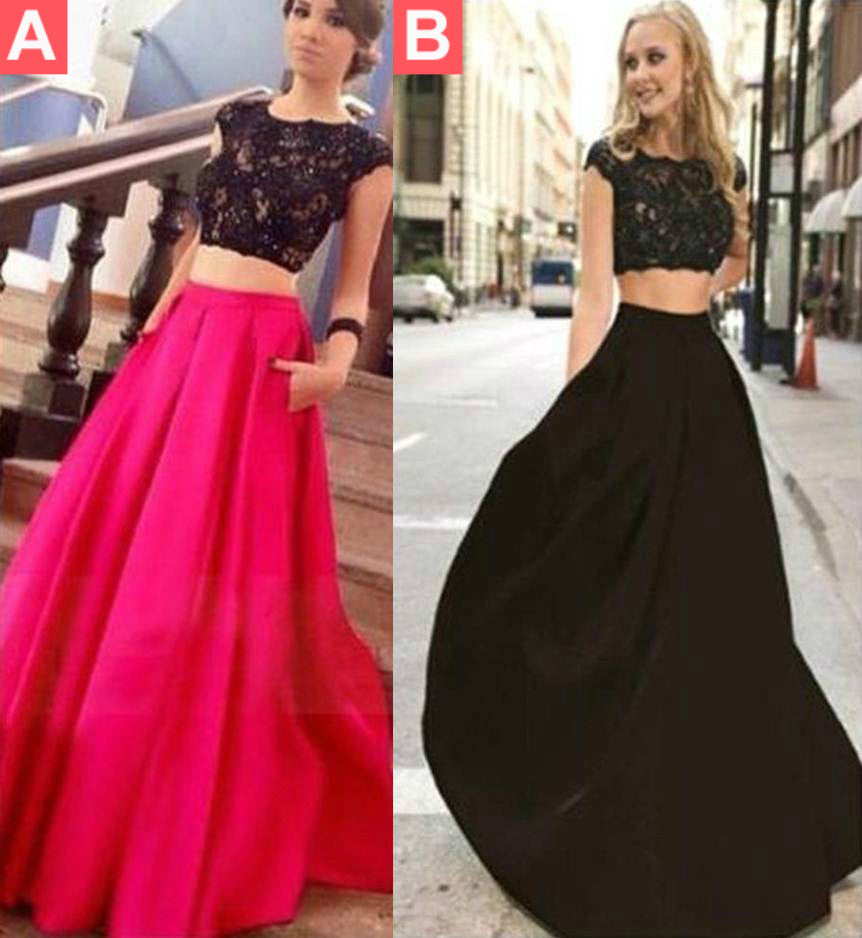 A-line Lace Satin Two Pieces Prom Dresses 2017