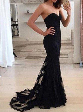 Black Sweetheart Natural Lace Sweep Train Prom Dresses 2017