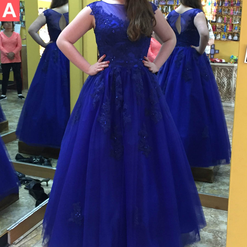 Blue Beading Appliques A-line Tulle Prom Dresses 2017