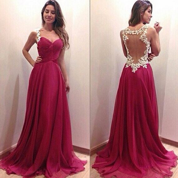 75% OFF!Prom Dresses 2017  A-Line Straps Chiffon Embroidery