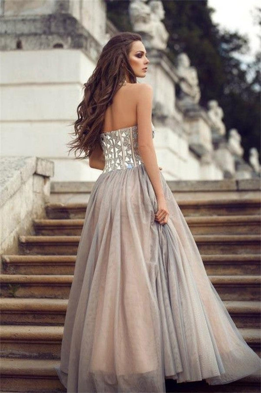 75% OFF!Long A-line Sweetheart Beading Tulle Prom Dresses 2017