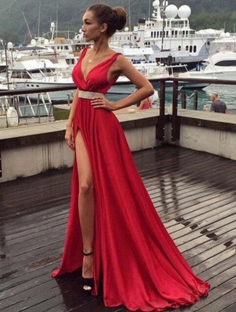 75% OFF!Long V-Neck Split Front Beading Chiffon Prom Dresses 2017