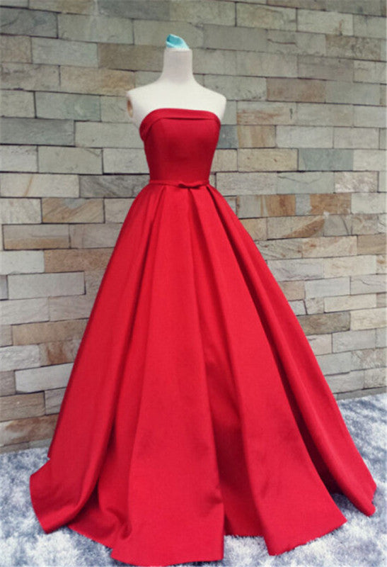 75% OFF!Long A-Line Strapless Floor-length Satin Prom Dresses 2017