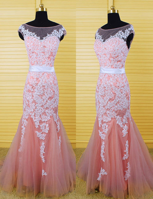 75% OFF!Appliques Bateau Neck Mermaid Tulle Prom Dresses 2017