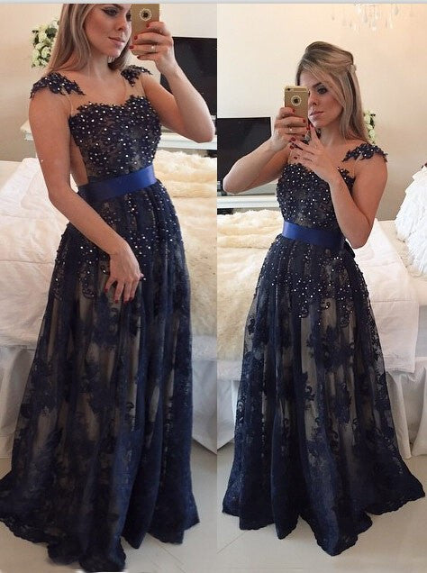 75% OFF!Long A-Line Scoop Pearl Detailing Tulle Prom Dresses 2017