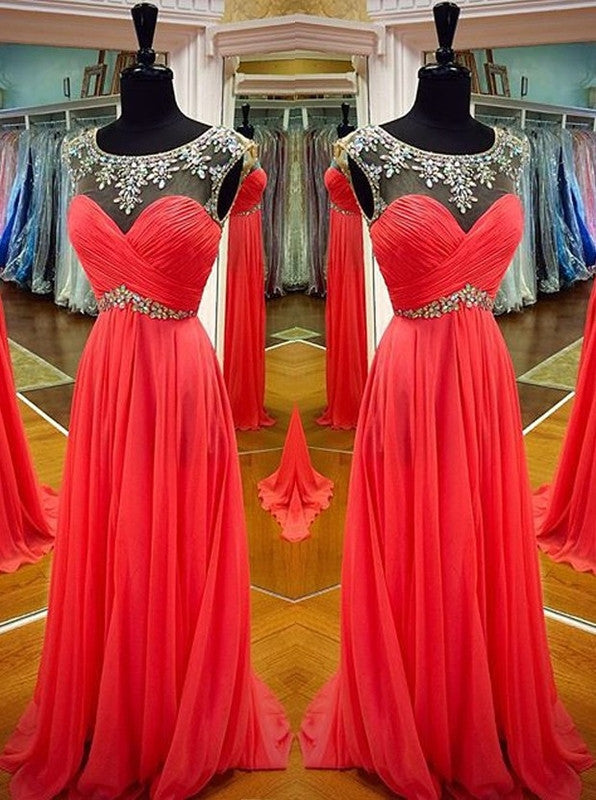 75% OFF!Long Sheath/Column Beading Chiffon Prom Dresses 2017