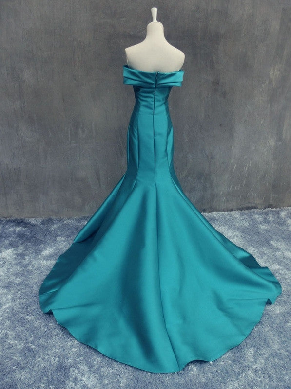 Blue Sweetheart Court Train Mermaid Satin Prom Dresses 2017