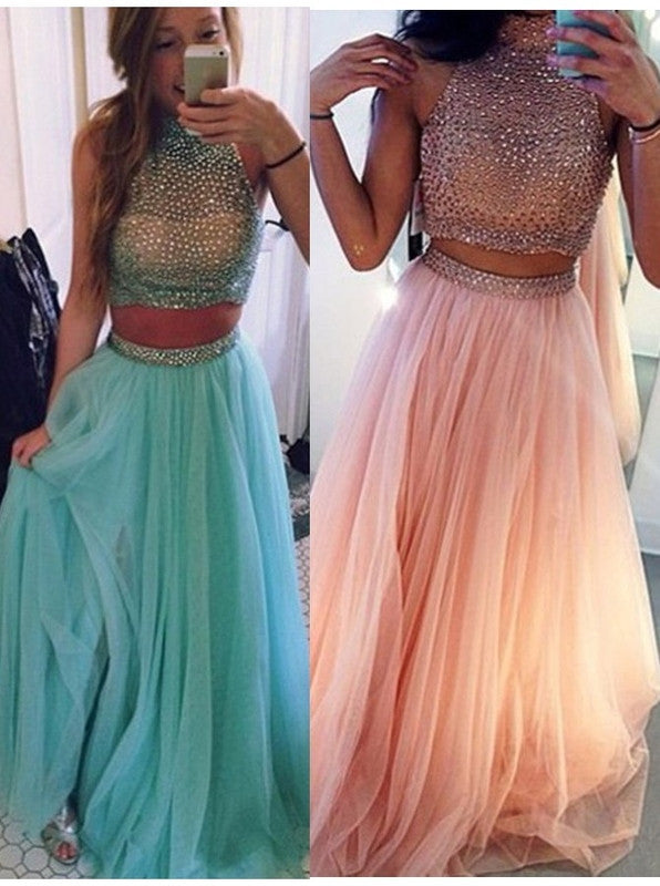 75% OFF!Beading High Neck Tulle Two Pieces Prom Dresses 2017