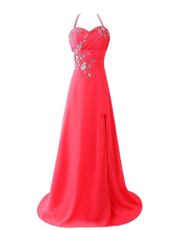 75% OFF!Beading Sequins Halter Satin Prom Dresses 2017