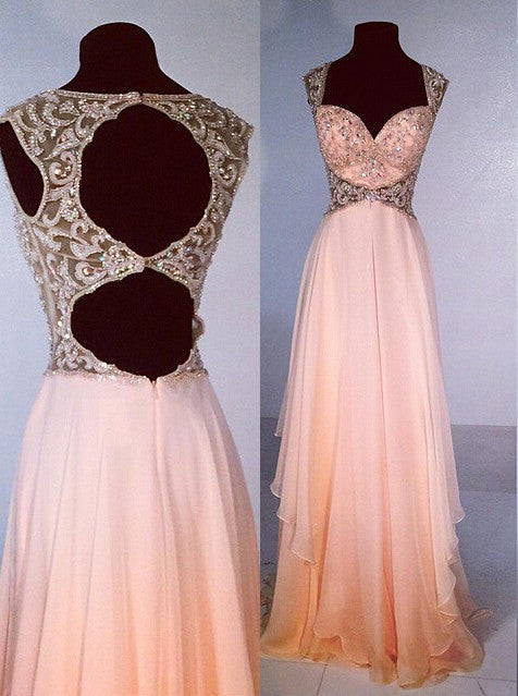 75% OFF!Long Backless A-Line Beading Chiffon Prom Dresses 2017