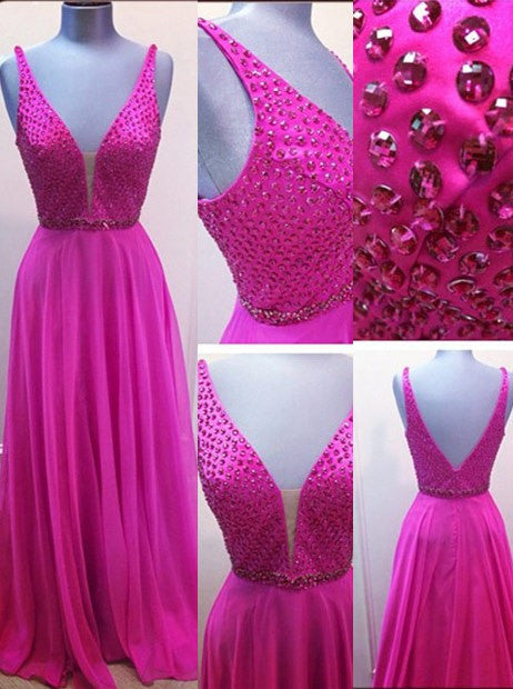 75% OFF!Long A-Line V-Neck Chiffon Fuchsia Prom Dresses 2017