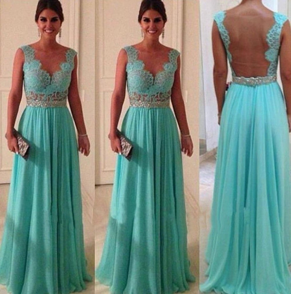 75% OFF!A-Line Scalloped Sleeveless Natural Backless Prom Floor-Length Chiffon Prom Dresses 2017