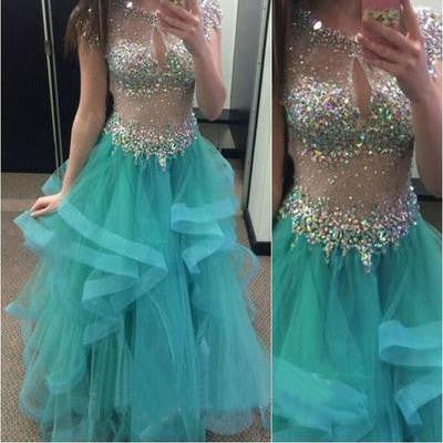 Beading Floor-length Ball Gown Organza Prom Dresses 2017