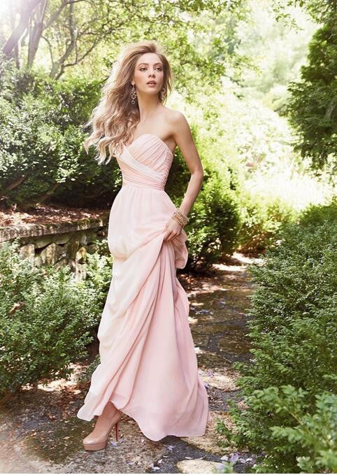 75% OFF!A-Line Sweetheart Sleeveless Natural Backless Floor-Length Chiffon Pearl Pink Prom Dresses 2017