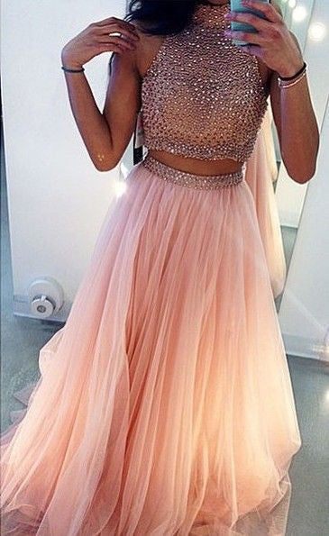 75% OFF!A-Line High Neck Sleeveless Empire Prom Sweep/Brush TRAIN Tulle Champagne Prom Dresses 2017