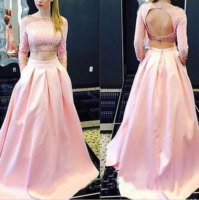 75% OFF!Beading Long Sleeves A-line Satin Two Pieces Prom Dresses 2017
