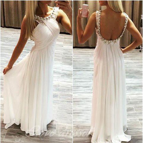 White A-Line Bateau Sleeveless Backless Floor-Length Chiffon Prom Dresses 2017