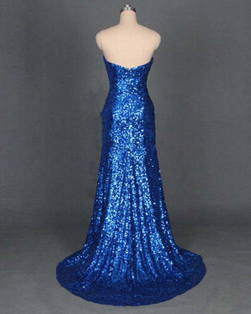 Blue Sheath/Column Sweetheart Sleeveless Sequined Prom Dresses 2017