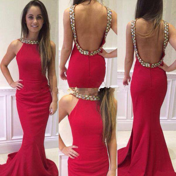 Red Trumpet/Mermaid Sleeveless Natural Backless Prom Dresses 2017