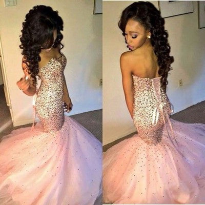 Trumpet/Mermaid Sweetheart Sleeveless Natural Lace-upSequined Prom Dresses 2017