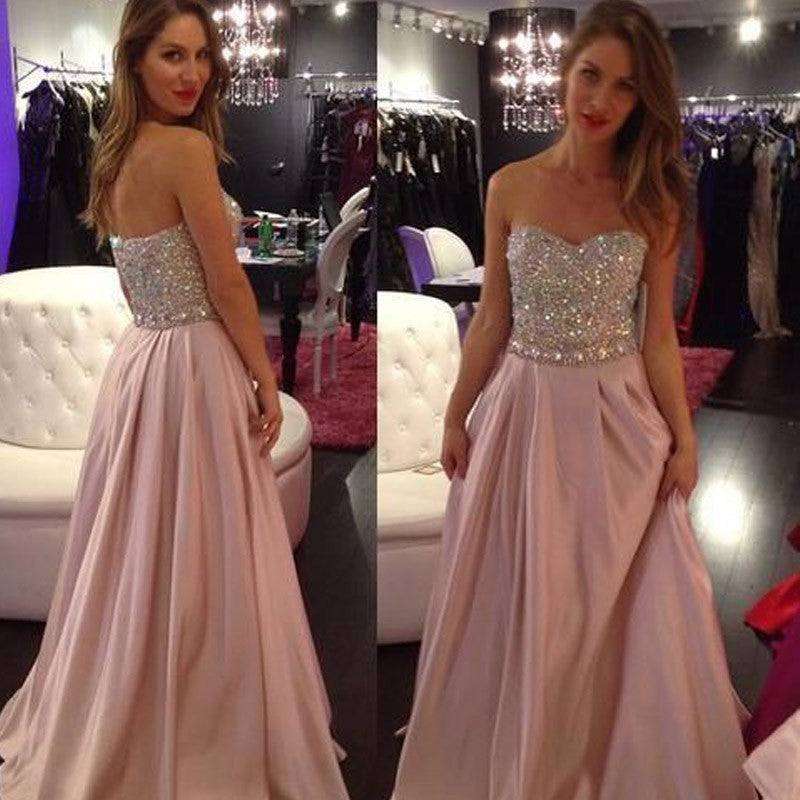 75% OFF!A-Line Sweetheart Sleeveless Natural Zipper Prom Prom Dresses 2017