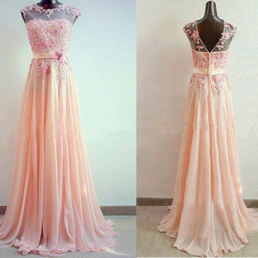 75% OFF!A-Line Sleeveless Natural ZipperSweep/Brush Train Chiffon Prom Dresses 2017