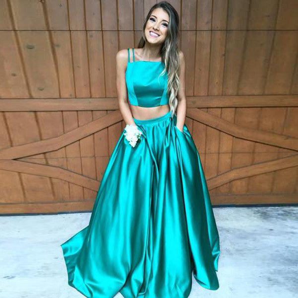 75% OFF!A-Line Spaghetti Straps Sleeveless Sweep/Brush Train Satin Prom Dresses 2017