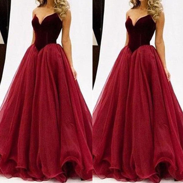75% OFF!Long A-Line V-Neck Sleeveless Tulle Prom Dresses 2017