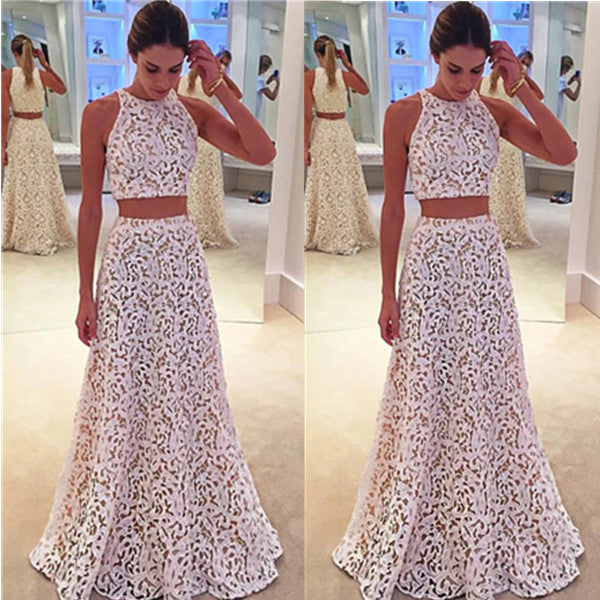 75% OFF!Prom Dresses 2017 Sleeveless A-line Lace Two Piece