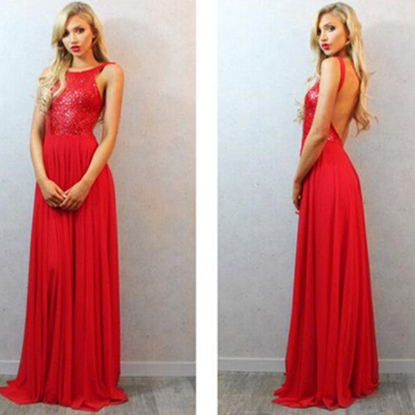 Red A-Line Sleeveless Empire Backless Sweep/Brush Train Chiffon Prom Dresses 2017